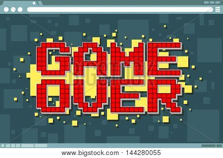 A vector illustration of Pixel computer game over screen on display screen