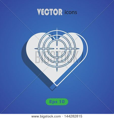 Heart at the gunpoint - Valentine's Day vector icon