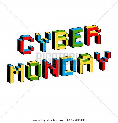 Cyber Monday background. Digital promo text in style of old 8-bit video games. Sale discount theme. Vibrant 3D Pixel Letters. Vector illustration. Flyer poster template.