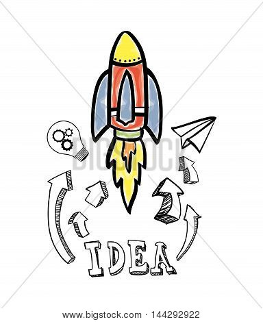 rocket bulb paperplane big and great idea creativity icon set. Sketch and draw design. Vector illustration
