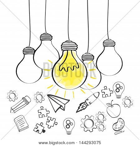 bulb paperplane gears rocket big and great idea creativity icon set. Sketch and draw design. Vector illustration