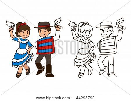 Cartoon children dancing Cueca traditional dance in Chile. Boy and girl couple in national costumes. Outline for coloring book illustration.