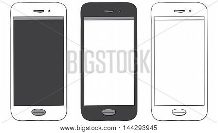 Smart Phones vector drawing illustration isolated on white.