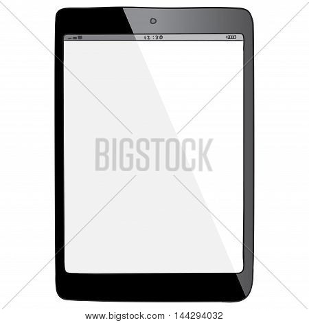 Black Tablet computer vector drawing illustration isolated on white.