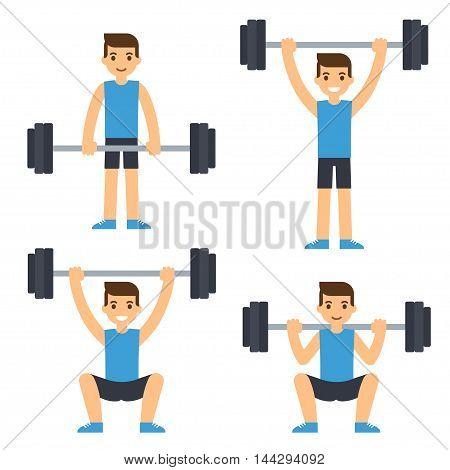 Cartoon man barbell exercises: squat deadlift overhead press. Weight lifting illustration. Modern flat vector style.