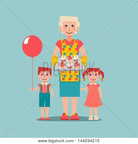 Grandmother's hobbies and care. Elderly woman cooked cakes for her grandchildren. Boy with balloon. Nanny look after children. Grandparents Day.