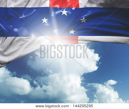 Netherlands Antilles flag on a beautiful day