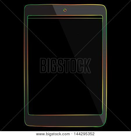 Tablet computer vector drawing illustration isolated on black.