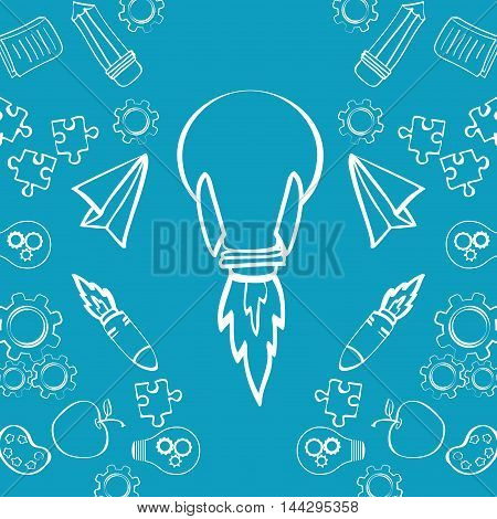 bulb rocket paperplane puzzle gears pencil apple big and great idea creativity icon set. Sketch and draw design. Vector illustration