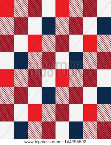 Rectangles with parallel diagonal slanting lines, red white and blue seamless pattern