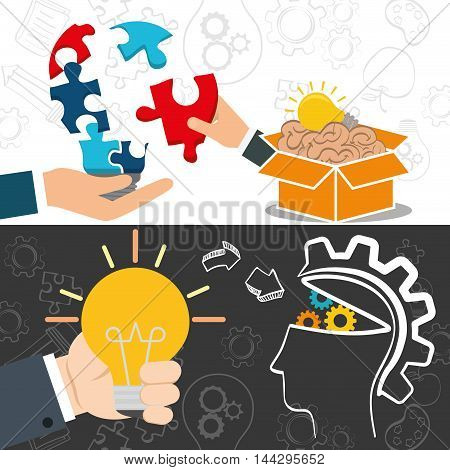 bulb hand puzzle brain box head gears big and great idea creativity icon set. Sketch and draw design. Vector illustration