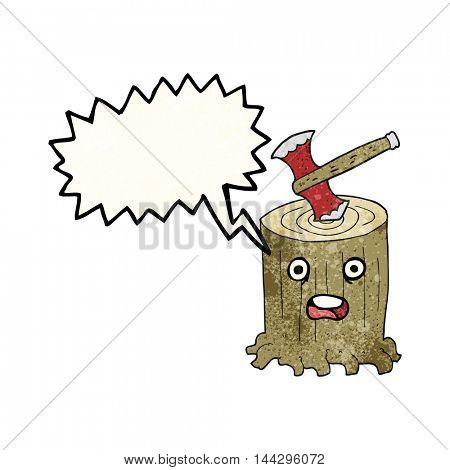 freehand speech bubble textured cartoon tree stump and axe