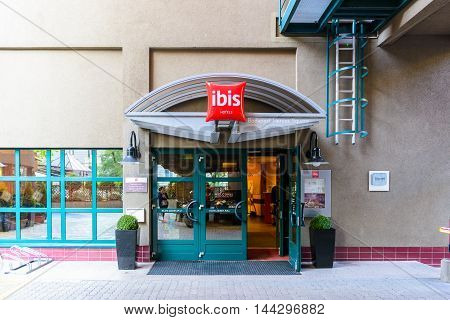 BUDAPEST, HUNGARY - AUGUST 18, 2014: Ibis hotel on the Heroes Square in Budapest, Hungary. ibis is an international hotel company, owned by Accor hotels.