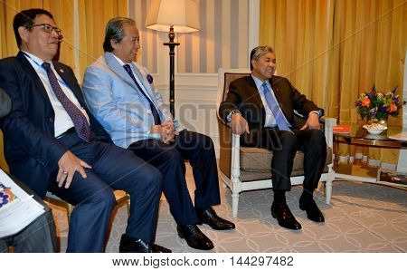 NEW YORK UNITED STATES - AUGUST 24TH 2016. Ahmad Zahid Hamidi, Deputy Prime Minister of Malaysia. In the middle is Dato' Sri Anifah Aman, minister of foreign affairs of Malaysia