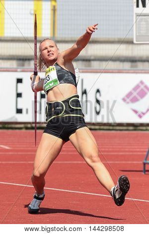 KAPFENBERG, AUSTRIA - AUGUST 9, 2015: Michaela Sturm (#248 Austria) participates in the national track and field championship.