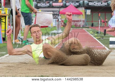 KAPFENBERG, AUSTRIA - AUGUST 8, 2015: Maximilian Droessler (#130 Austria) participates in the national track and field championship.