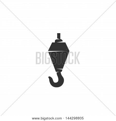 Vector Crane hook icon isolated on a white background. Crane hook logo in flat style. Simple icon as element for design. Vector symbol, sign, pictogram, illustration