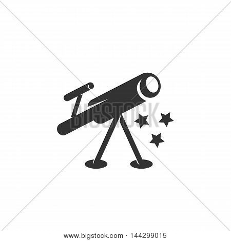 Vector Telescope icon isolated on a white background. Telescope logo in flat style. Simple icon as element for design. Vector symbol, sign, pictogram, illustration