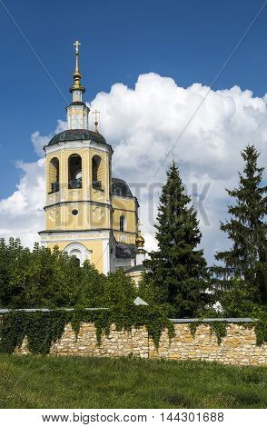 Orthodox Church against a beautiful sky with clouds, Russia, Serpukhov. Stock photo