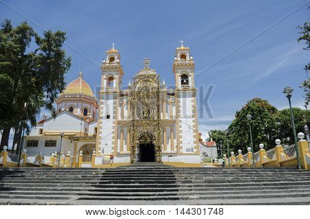 XICO, VERACRUZ, MEXICO- AUGUST 22, 2016: Santa Maria Magdalena church facade in Xico, Veracruz, Mexico