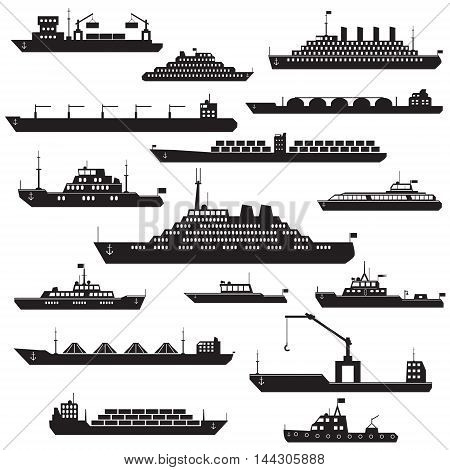 Set of black and white silhouette ships and boats icons showing passenger lines cruise ship LNG carrier container ship tanker in frontal views