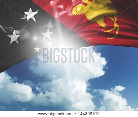 Papua New Guinea flag on a beautiful day