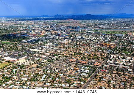 Monsoon storm over the Arizona desert and cities of Tempe Phoenix and Scottsdale