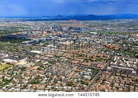 Monsoon storm over the Arizona desert and cities of Tempe Phoenix and Scottsdale
