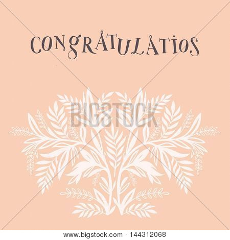 Minimalistic congratulations greeting card floral design on the peach background