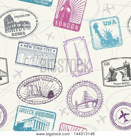 Famous world monuments, landmarks vector seamless pattern