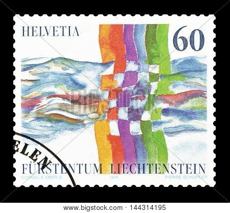 SWITZERLAND - CIRCA 1995 : Cancelled postage stamp printed by Switzerland, that shows Colored lines crossing a river.