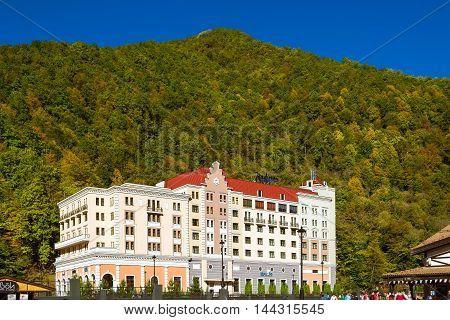 SOCHI RUSSIA - OCTOBER 31 2015: Rosa Khutor Hotel Radisson building of the Alpine ski resort. Constructed from 2003 to 2011. Krasnaya Polyana Sochi Krasnodarskiy kray Russia