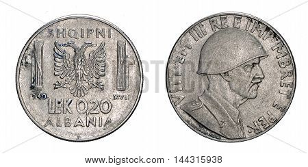 twenty 20 cents LEK Albania acmonital Coin 1940, fascism age in Albania occupation of its territory, double head eagle on back and helmed Vittorio Emanuele III Kingdom of Italy on front, Mint of rome, during the great second world war