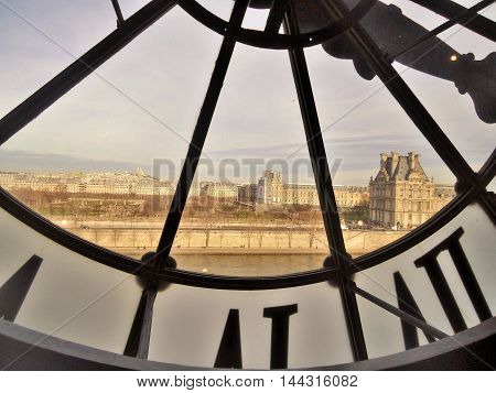 View of the Louvre from the Musée d'Orsay in Paris windows