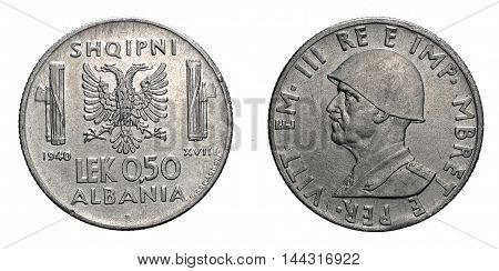 fifty 50 cents LEK Albania acmonital Coin 1940, fascism age in Albania occupation of its territory, double head eagle on back and helmed Vittorio Emanuele III Kingdom of Italy on front, Mint of rome, during the great second world war