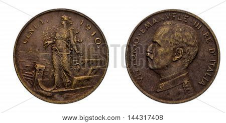One 1 cent Lire Copper Coin 1910 Prora Vittorio Emanuele III Kingdom of Italy, Mint of rome, Italy on boat on front and Vittorio Emanuele III head on back