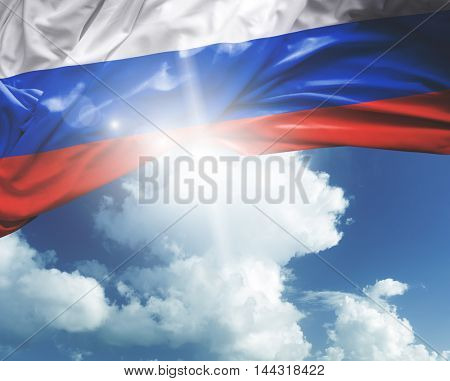 Russia flag on a beautiful day