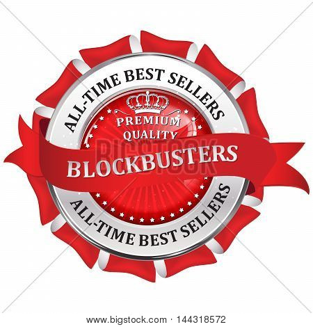 All time best sellers. Blockbusters - metallic red business glossy icon / label.