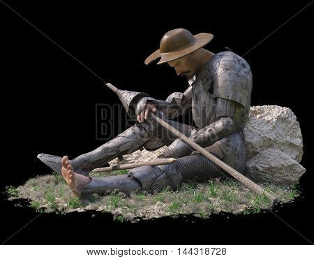 sitting Don Quixote figure on isolate black background