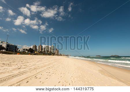 Empty Barra da Tijuca Beach, Rio de Janeiro, Brazil