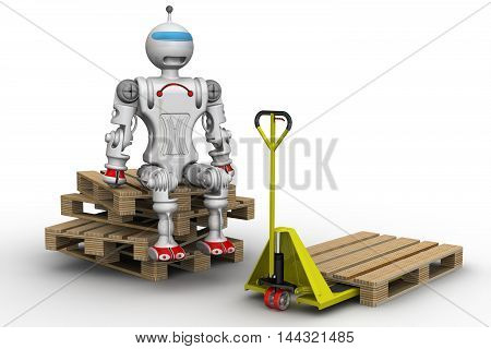 Robot loader. The robot is sitting on cargo pallets next to the pallet truck. Robot majoring loader. Isolated. 3D Illustration
