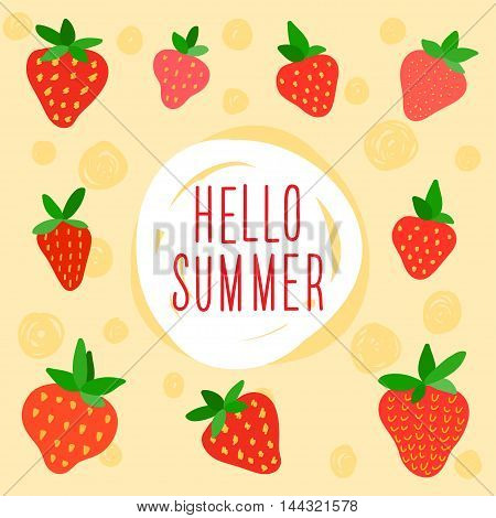 Summer time card. Bright handmade doodle strawberry.