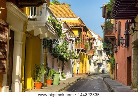 View of a beautiful colonial street in Cartagena Colombia