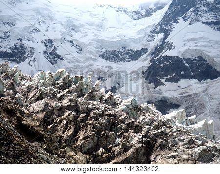 Glacier Cascade And Seracs In Caucasian Mountains