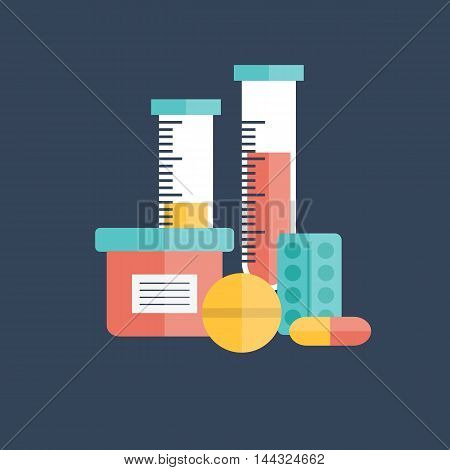 Vector illustration with flat medicine pills and test tubes. Vitamin drug tablet objects. Vector medicine background. Pharmacy medicament healthcare treatment design. Medicine pills in flat style