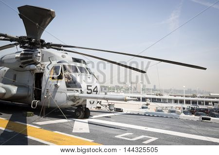 NEW YORK MAY 26 2016: Helicopter from Marine Heavy Helicopter Squadron 464 (HMH-464) on the flight deck of the USS Bataan (LDH 5) an amphibious assault ship moored at Pier 88 for Fleet Week NY 2016.