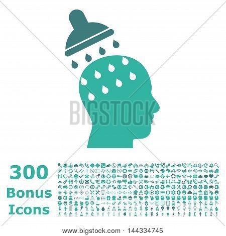 Brain Washing icon with 300 bonus icons. Vector illustration style is flat iconic bicolor symbols, cobalt and cyan colors, white background.
