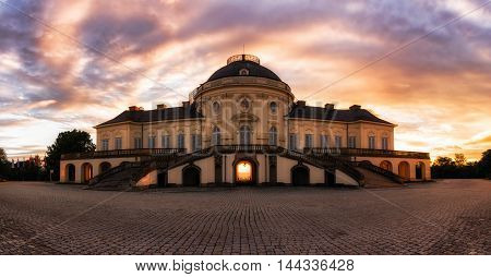 Unique Sunrise View Exterior Panorama Solitude Schloss Palace Stuttgart Germany
