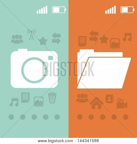 camera file pointed wallpaper battery signal mobile apps application online icon set. Colorful and flat design. Vector illustration