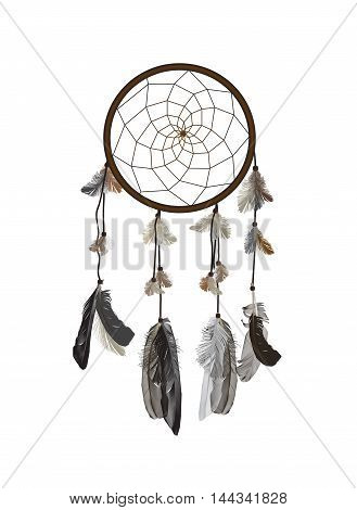 Naturalistic Dreamcatcher Isolated on White Background. EPS10